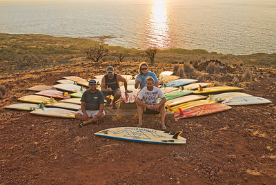 The Bonzer tribute crew (left to right): Mike Kelly, Tim Orr, Ben, Cole Brooking. Makalawena, Big Island Hawaii, July 2011.