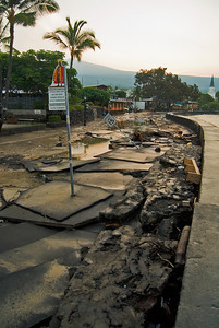 This shot shows the damage caused to Ali Drive. Whole blocks of pavement were uplifted and broken apart by the tsunami waves. Imagine the power in the waves to cause this...