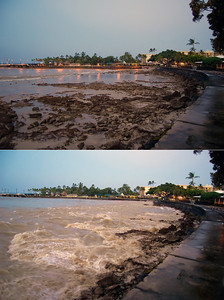 This is the two previous images combined to show side-by-side the extreme tidal difference between the trough and crest of the wave.