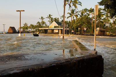 A view looking towards the Kailua pier stairs in the previous photo which are now completely submerged.