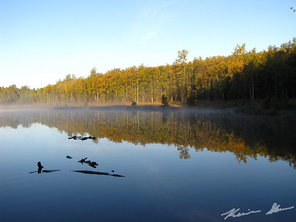 Fall color and radiation fog over DeLong Lake