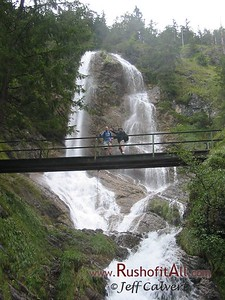 Phil and Keith on footbridge at waterfall above Hinterstein.
