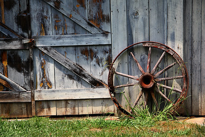 Wagon Wheel and Barn