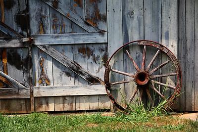 Wagon Wheel and Barn