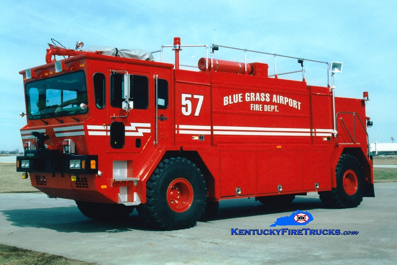 <center> RETIRED <br> Blue Grass Airport Crash 57 <br> Refurbished in 1997 <br> 1993 Oshkosth T-1500 1250/1500/140F/450DC <br> Greg Stapleton photo <br> </center>