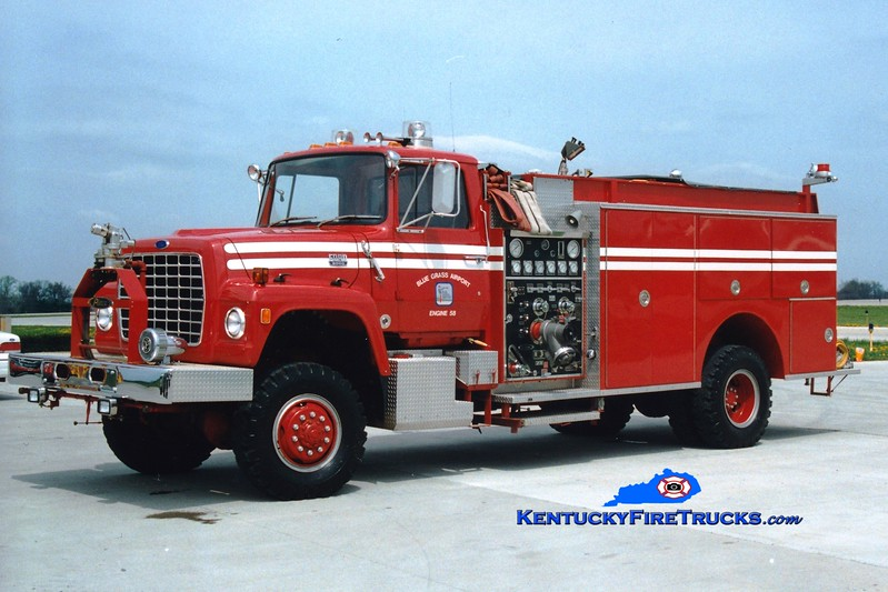 <center> RETIRED <br> Blue Grass Airport Engine 58 <br> 1974 Ford LN8000 4x4/1986 Pierce 750/1000/75F <br> Chassis recycled from a 1974 Fire Boss unit <br> Greg Stapleton photo <br> </center>