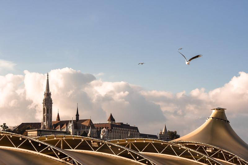 Budapest's Mátyás church pierces the clouds above the Danube.