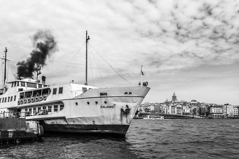 One of Istanbul's passenger ferries floats at Eminönü dock.