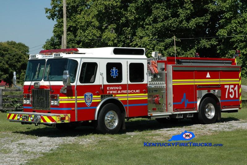 <center> Ewing  Engine 751  <br> x-St Matthews, KY <br> 1995 E-One Cyclone TC 1500/500 <br> Greg Stapleton photo </center>
