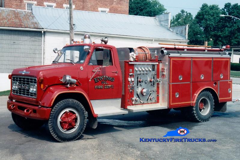 <center> RETIRED <br> Ewing Engine 6  <br> 1970 GMC/American LaFrance 750/1000 <br> Greg Stapleton photo <br> </center>
