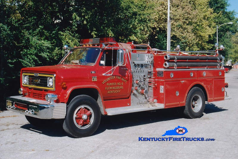 <center> Flemingsburg  Pumper 6  <br> 1978 Chevy C65/Grumman-Howe 750/500 <br> Greg Stapleton photo </center>