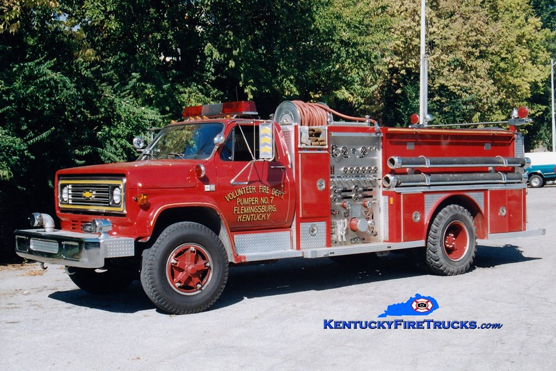 <center> Flemingsburg  Pumper 7  <br> 1985 Chevy C70/E-One 750/750 <br> Greg Stapleton photo </center>