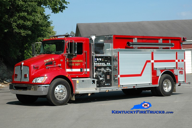 <center> Flemingsburg  Pumper 2  <br> 2013 Kenworth T-300/Rosenbauer 1250/2000 <br> Greg Stapleton photo </center>