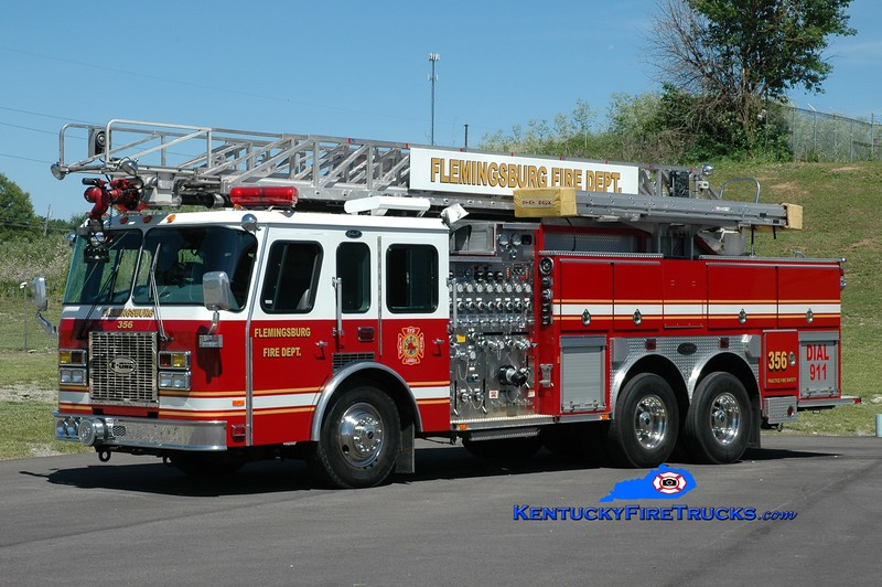 Flemingsburg  Ladder 356<br /> x-Flatwoods, KY<br /> 1995 E-One Cyclone TC 2000/500/500/75'<br /> Greg Stapleton photo