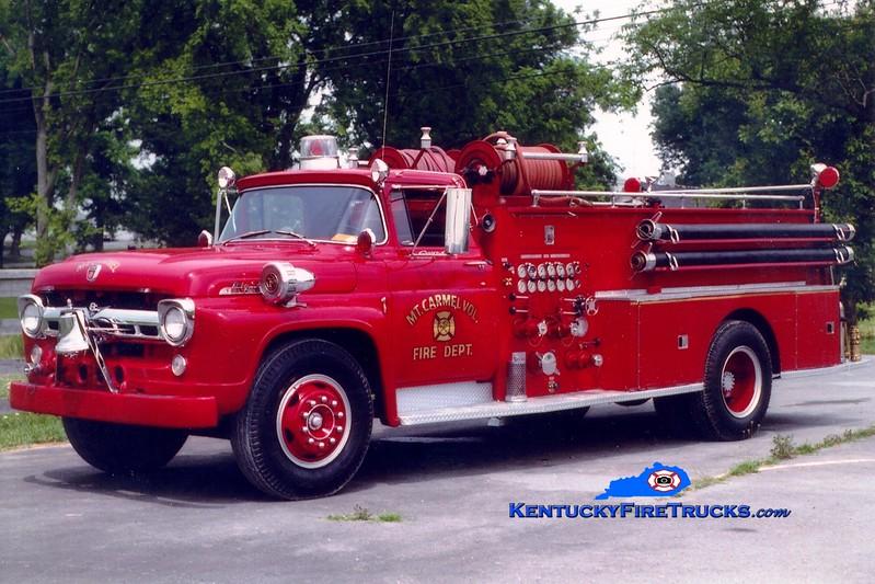 <center> RETIRED <br> Mount Carmel  Engine 1  <br> x-Olive Hill, KY <br> 1957 Ford F/Boyer 750/500  <br> Greg Stapleton photo </center>