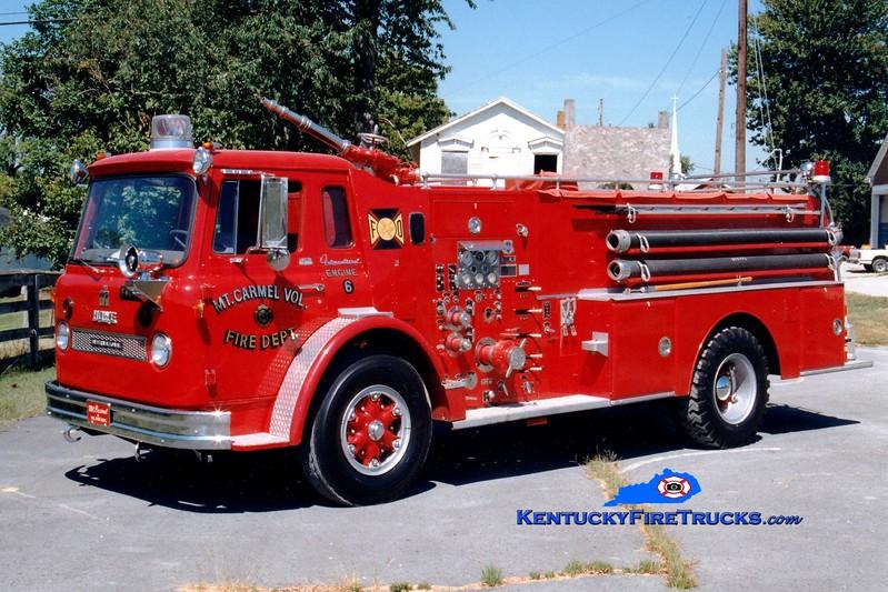 <center> RETIRED <br> Mount Carmel  Engine 6  <br> 1963 International/Howe 750/1000 <br> Greg Stapleton photo </center>
