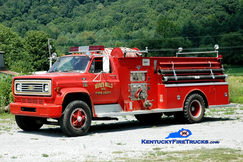 <center> RETIRED <br> Muses Mills  Engine 1  <br> x-Ewing, KY <br> 1977 Chevy C65/Allegheny 750/750 <br> Greg Stapleton photo </center>