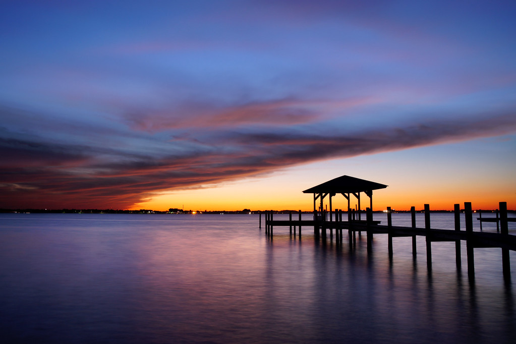 Windy sunset over the Indian River Lagoon, Florida.