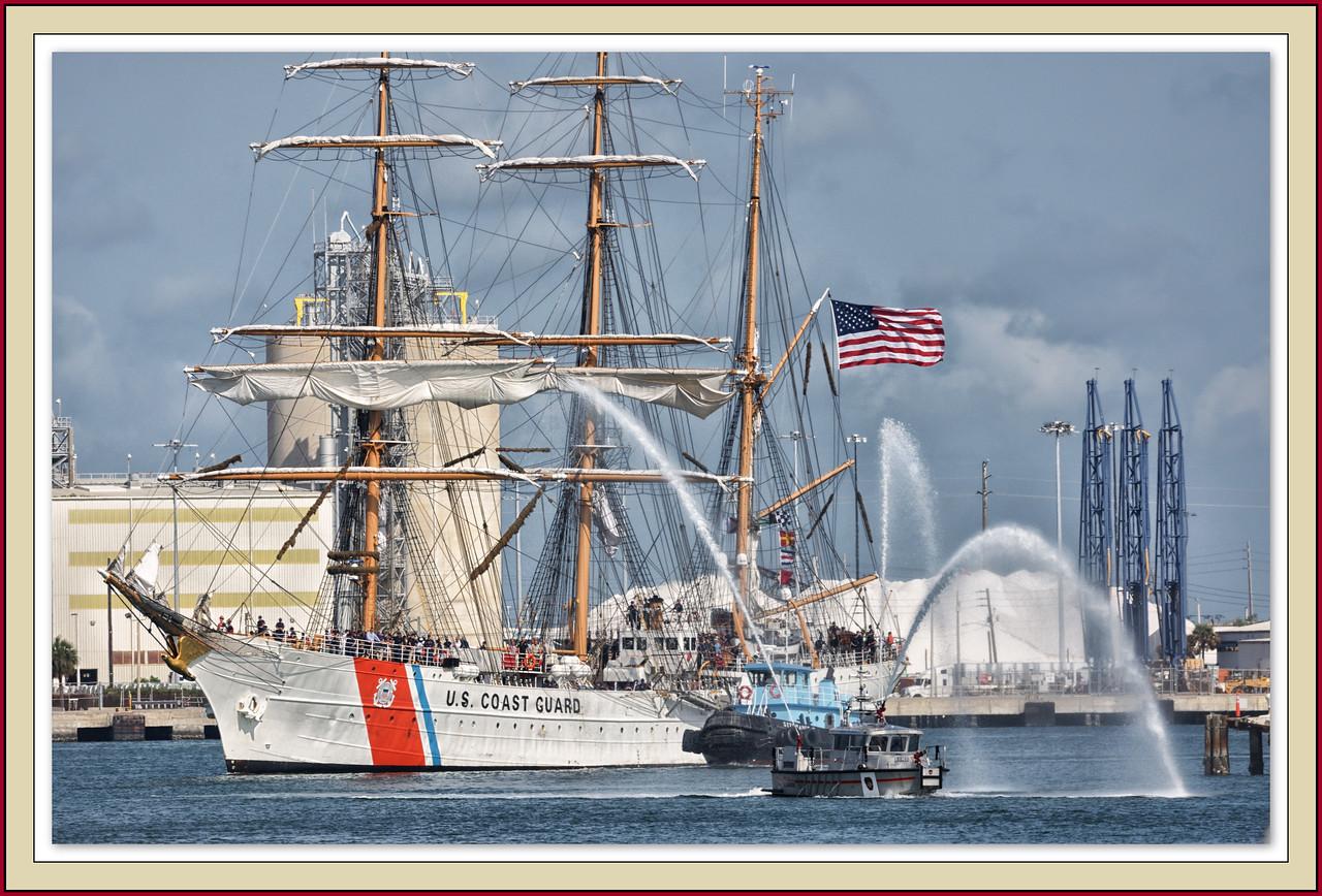 The arrival of the Coast Guard cutter Eagle.