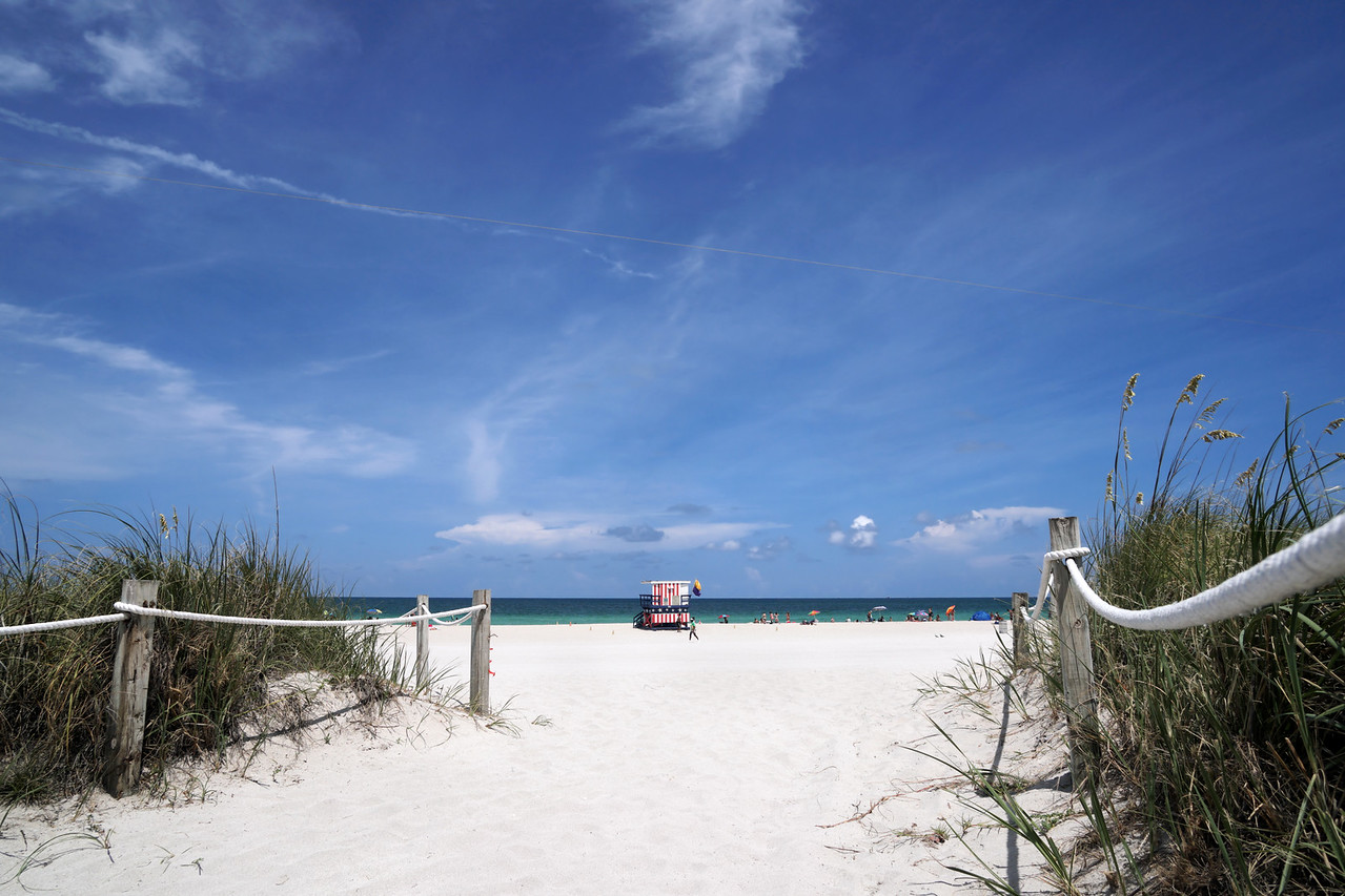 """A view of the 13th Street """"stars and stripes"""" lifeguard stand in Miami Beach."""