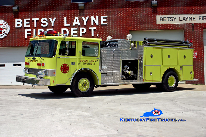 <center> Betsy Layne  Engine 2 <br> 1987 Pierce Arrow 1000/1250 <br> Kent Parrish photo </center>