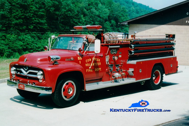 <center> RETIRED <br> Cow Creek  Engine 1 <br> x-Prestonsburg, KY <br> 1955 Ford F/Oren 750/500 <br> Greg Stapleton photo </center>