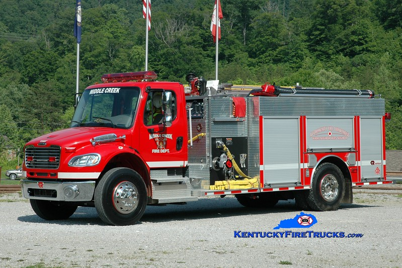 <center> Middle Creek Engine 1 <br> 2008 Freightliner M2-106/Rosenbauer-Central 1250/1000 <br> Greg Stapleton photo </center>