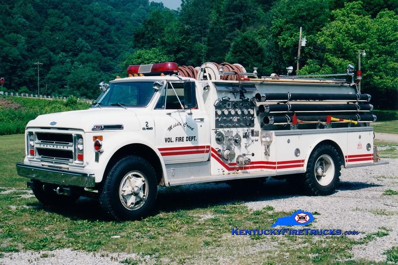 <center> RETIRED <br> Middle Creek Engine 2 <br> X-Louisa, KY <br> 1973 Chevy/Allegheny 750/500 <br> Greg Stapleton photo </center>