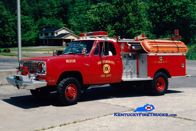 <center> FORMER <br> Prestonsburg  Squad 6 <br> 1978 Dodge 4x4/1978 City Fire Equipment 500/250 <br> Greg Stapleton photo </center>