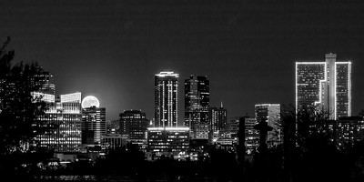 Moon Rising Over Fort Worth B&W