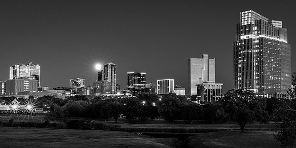 Moon over Fort Worth Skyline