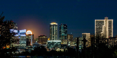 Moon Rising over Downtown Fort Worth