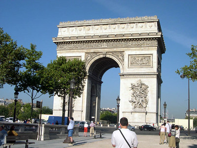 The Arc de Triomphe, built by Napolean in 1805 following his victory at the Battle of Austerlitz.
