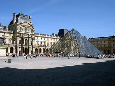 The Musee du Louvre with I.M. Pei's famous (and controversial) pyramid entrance. The pyramid was added in 1989.