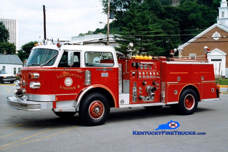 <center> RETIRED <br> Frankfort  Engine 2 <br> 1978 American LaFrance Century 1250/500 <br> Greg Stapleton photo </center>