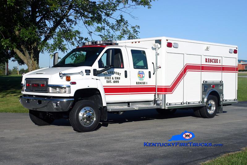 <center> Frankfort  Rescue 1  <br> 2009 Chevy C5500 4x4/Horton  <br> Kent Parrish photo </center>