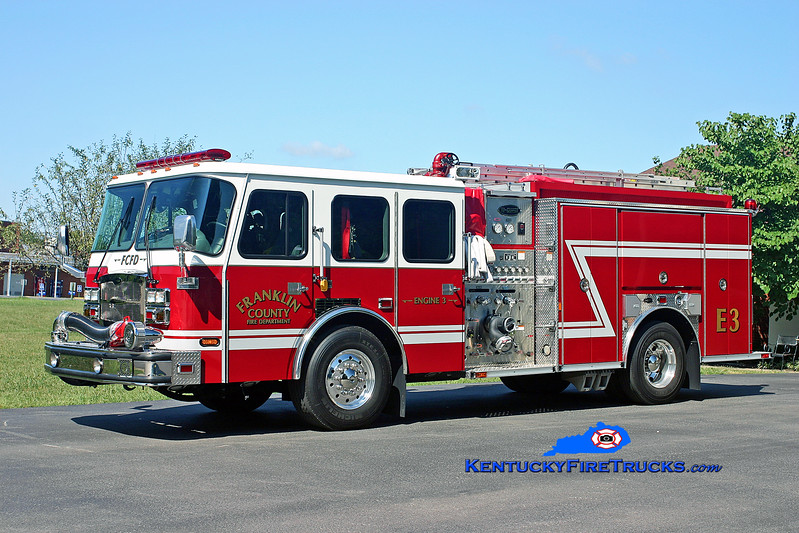 <center> *Reassigned as Engine 10 <br> Franklin County  Engine 3 <br> 2007 E-One Typhoon 1500/1000/50 <br> Kent Parrish photo </center>