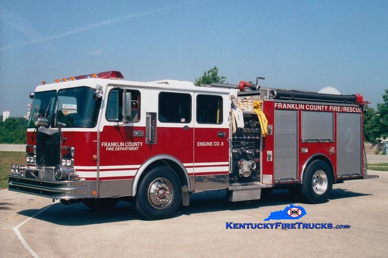 <center> RETIRED <BR> Franklin County  Engine 8 <br> x-Gainesville, FL <br> 1986 Spartan Gladiator/American Eagle 1750/750 <br> Greg Stapleton photo </center>