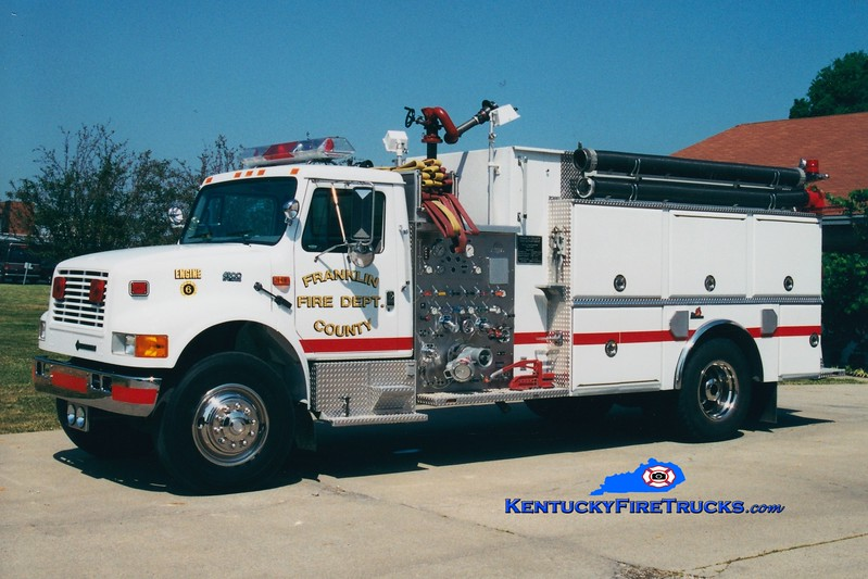 <center> Franklin County  Reserve Engine <br> x-Engine 6 <br> 1995 International 4900/Ferrara 1250/1500 <br> Greg Stapleton photo </center>