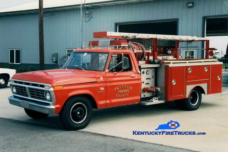 <center> RETIRED <br> Franklin County  Rescue 8 <br> 1975 Ford F-350/E-One 260/260 <br> Greg Stapleton photo </center>