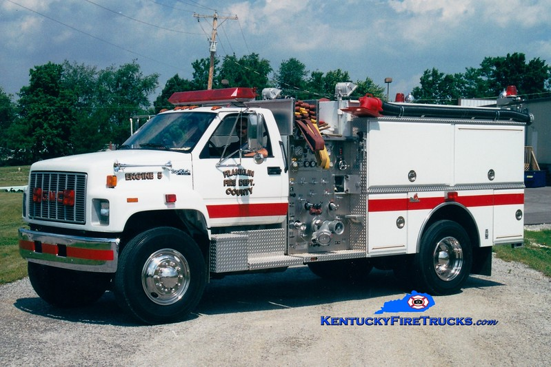 <center> Franklin County  Reserve Engine 5 <br> 1991 GMC TopKick/Ferrara 1000/1000 <br> Greg Stapleton photo </center>