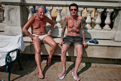 March , 2012, Budapest, Hungary -  Local celebrity Endre Kiss of the rock band The Hooligans, seen at  Szechenyi Bath, where locals and tourists spend as long as 10 hrs a day in the water.   Budapest is known as the SPA Capital of the world.  Nearly 120 hot springs feed the city's historic thermal baths (Furdo) and approximately 70 million litres of water used every day. The water full of minerals is supposed to cure many illness.