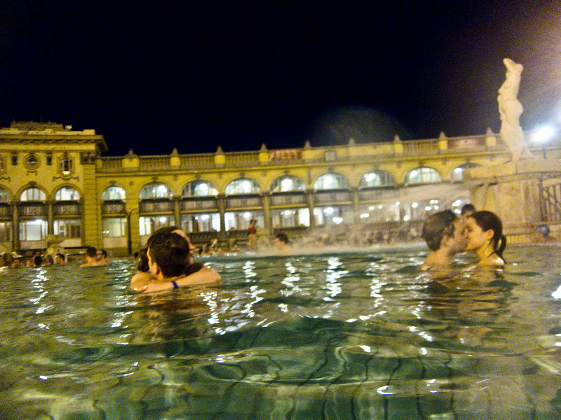March , 2012, Budapest, Hungary -  Visitors enjoy a night bath in one of the pools at Szechenyi Bath and Spa.   Budapest is known as the SPA Capital of the world.  Nearly 120 hot springs feed the city's historic thermal baths (Furdo) and approximately 70 million litres of water used every day.