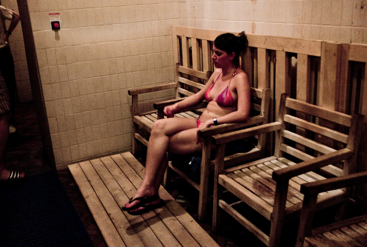 March , 2012, Budapest, Hungary -  Waiting room at Sauana in Budapest, a SPA capital of the world.   Budapest is known as the SPA Capital of the world.  Nearly 120 hot springs feed the city's historic thermal baths (Furdo) and approximately 70 million litres of water used every day.
