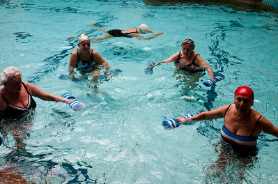 March , 2012, Budapest, Hungary -  women exercise at the swimming pool at the Gellert hotel and SPA.    Budapest is known as the SPA Capital of the world.  Nearly 120 hot springs feed the city's historic thermal baths (Furdo) and approximately 70 million litres of water used every day.