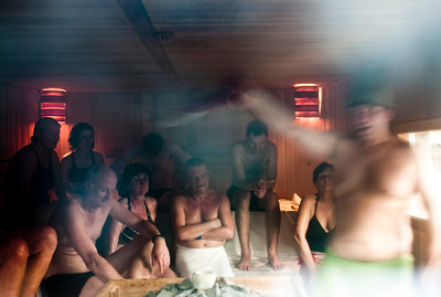 March , 2012, Budapest, Hungary -  Sauna at the Gellert hotel and SPA.    Budapest is known as the SPA Capital of the world.  Nearly 120 hot springs feed the city's historic thermal baths (Furdo) and approximately 70 million litres of water used every day.