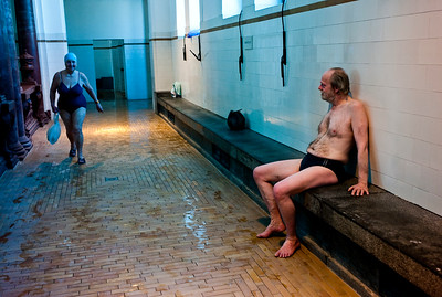 March , 2012, Budapest, Hungary - A local relaxes after the spa at  Szechenyi Bath and Spa.   Budapest is known as the SPA Capital of the world.  Nearly 120 hot springs feed the city's historic thermal baths (Furdo) and approximately 70 million litres of water used every day.