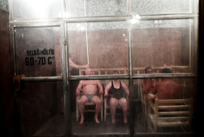 March , 2012, Budapest, Hungary -  Regulars soak in the steam at Kiraly Bath.   Budapest is known as the SPA Capital of the world.  Nearly 120 hot springs feed the city's historic thermal baths (Furdo) and approximately 70 million litres of water used every day.