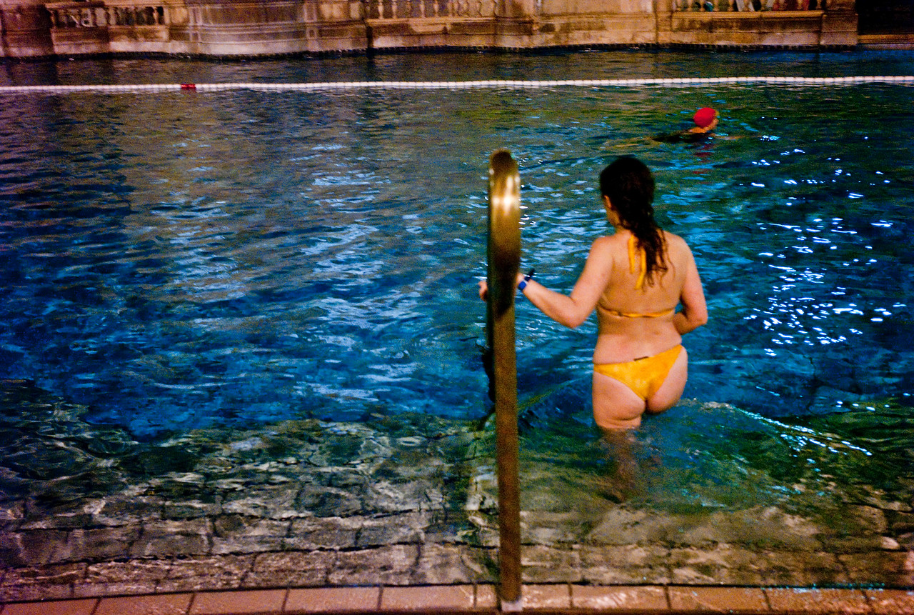 March , 2012, Budapest, Hungary -  One of the visitors at Szechenyi Bath and Spa.   Budapest is known as the SPA Capital of the world.  Nearly 120 hot springs feed the city's historic thermal baths (Furdo) and approximately 70 million litres of water used every day.