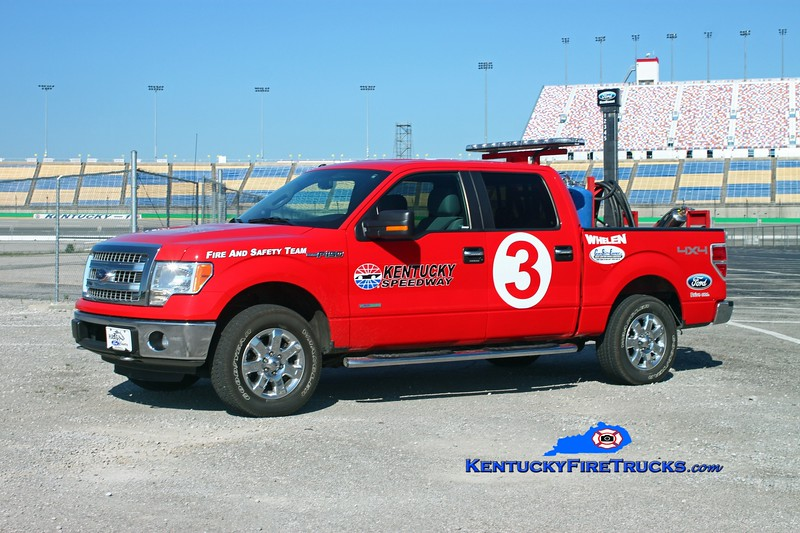 <center> Kentucky Speedway <br> Units 1, 2, 3, and 4 (all identical) <br> 2012 Ford F-250 4x4 125# PK systems  <br> Kent Parrish photo </center>